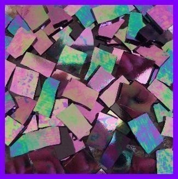 "Mosaic Tiles HOT IRIDESCENT 100 Stained Glass 1/2 - 1"" Mosaic Tiles"