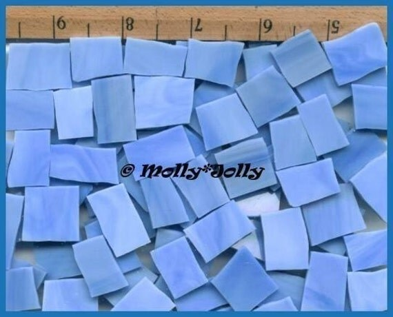 """Mosaic Tile BABY BLUE 100 pcs 1/2 1"""" NICE Sizes Tiles Stained Glass Mosaic Tiles"""