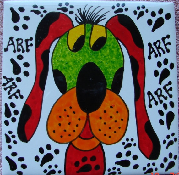 Mosaic Tiles Kool And Funky Handpainted Dog Ceramic Mosaic