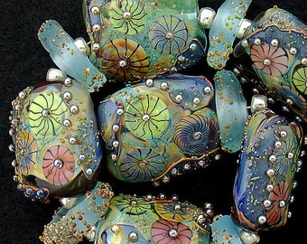DSG Beads Handmade Organic Lampwork Glass-Made To Order Aqua Pillows