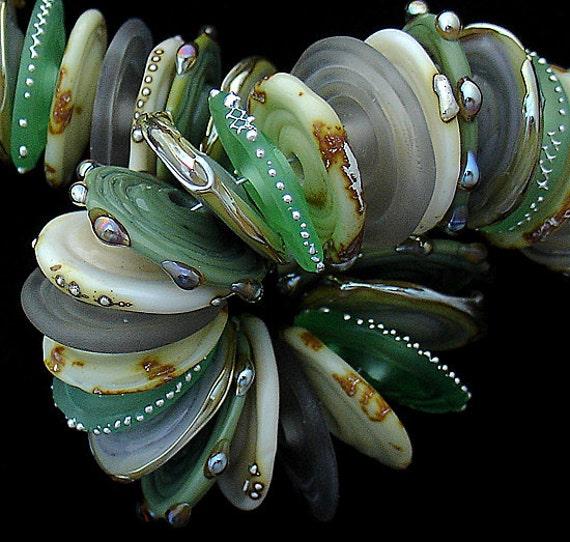 DSG Beads Artisan Debbie Sanders Handmade Organic Lampwork Glass Discs - Made To Order (Spruce)