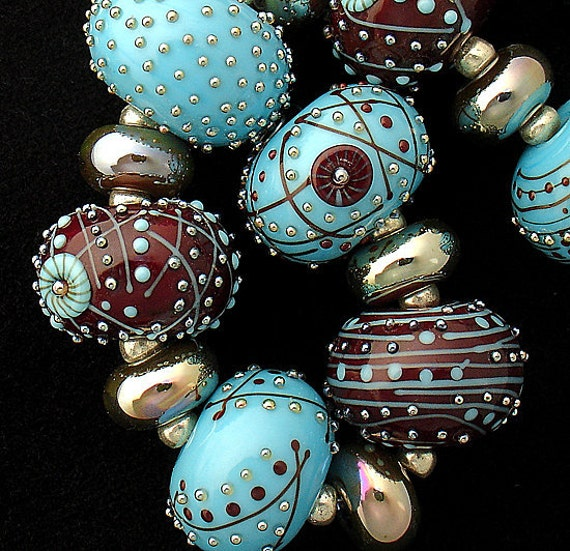 Lampwork Beads Patterned Beads Statement Necklace Beaded Necklace Beads Jewelry Supplies Bead Bracelet Large Round Beads Debbie Sanders