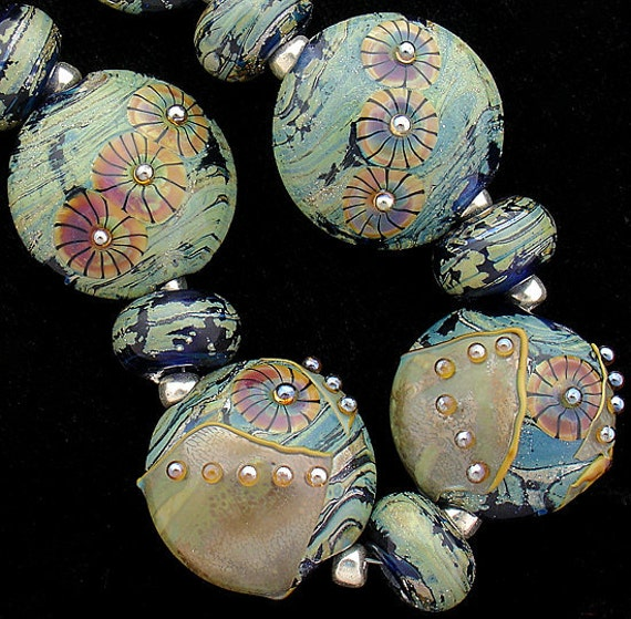 DSG Beads Handmade Organic Glass Lampwork - Bahama Mama (Speciality Glass Used) Made To Order