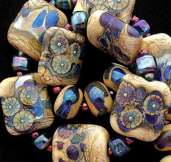DSG Beads Artisan Debbie Sanders Handmade Lampwork Beads Glass Beads Organic Lampwork Beads - Psychedelic (Made To Order) Square Beads