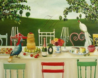 Lady Gertrude's Decadent Brunch With Flora And Fauna- Art Print