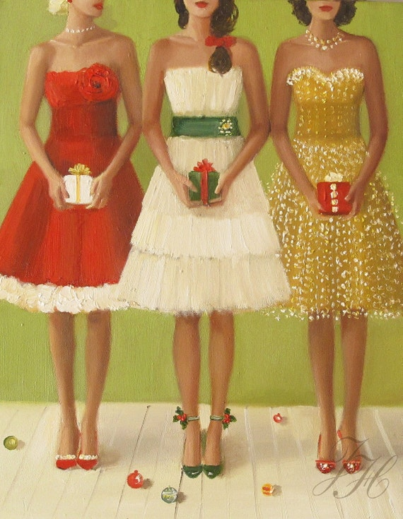 Christmas Belles- Original Oil Painting