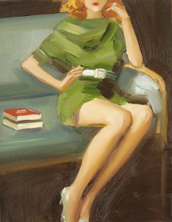 Paige In A Green Dress- Art Print From Original Oil Painting