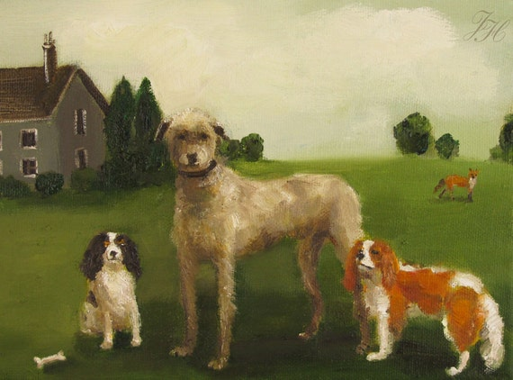 The Dogs Of Black Walnut Manor- Gertie, Douglas, and Little Bess- Limited Edition Print
