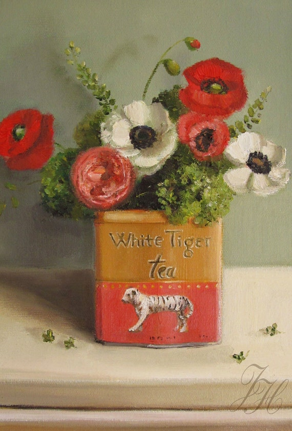 White Tiger Tea- Canvas Reproduction Print