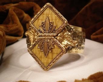 1920s Antique Czechoslovakia Celluloid Buckle Cuff Bracelet, Gold Bracelet, Filigree Bracelet, Czech Buckle, Yellow, Gold, Celluloid