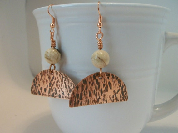 CLEARANCE- Antiqued Copper Metalwork and Picture Jasper Earrings - copper jewelry - copper earrings