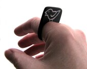 Bird Ring Size 9.5 Slate Black and Silvery Chirp