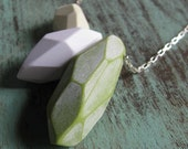 Faceted Necklace Geometric Pendant Polymer Clay Green White Olive Modern Sterling