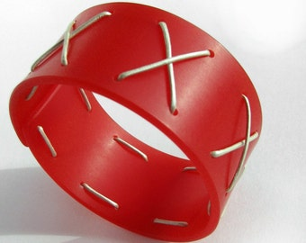 Big Bold Bangle Bracelet, Modern Bright Cherry Plexi, Leather Laced Bangle, Plexiglass Jewelry