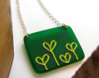Green Sprout Necklace, Modern Plexi Jewelry, Sprout Pendant, Spring Pendant, Sterling Silver Chain