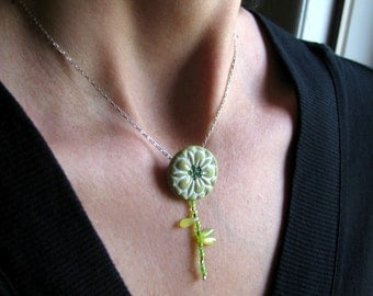 Green Flower Necklace, Beaded Stem, Rustic Flower Pendant, Gift for a Gardener, Sterling Silver Chain