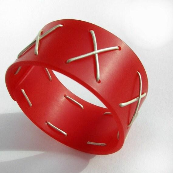 Big Bold Bangle Bracelet, Modern Bright Cherry Plexi, Leather Laced Bangle, Plexiglass Jewelry