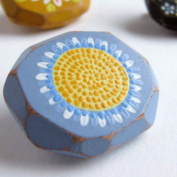 Sunflower Faceted Brooch, Sunflower, Flower, Sky Blue, Yellow, Faceted, Geometric