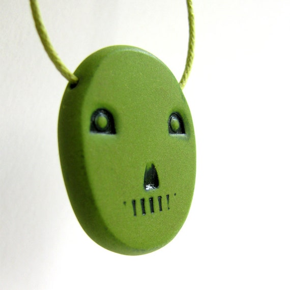 Mechanical Face Necklace Ghosts from Machines Simple Quirky Head Green Cotton Cord