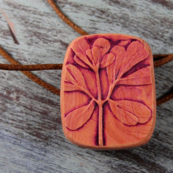 Rue Leaf Necklace Botanical Necklace Wine and Sand Rustic Nature