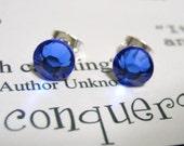 Sapphire Crystal Post Style Earrings 7mm Hypo Allergenic Nickel Free