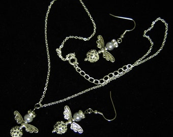 Silver Angels Necklace and Earrings Set Sterling Chain
