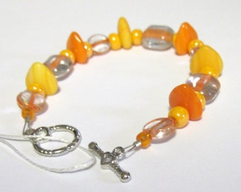 Orange Heart Bracelet Glass Toggle 7.5 inch