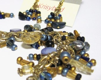 "Charm Bracelet and Earrings Set Blue and Gold 8"" adjustable smaller"