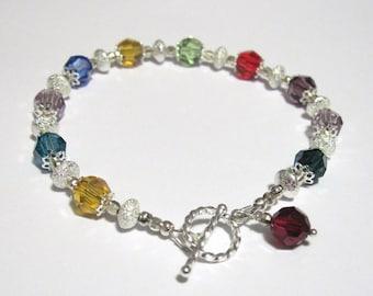 Custom Made Mothers Grandmothers Birthstone Bracelet Silver and Crystal Mom Grandma