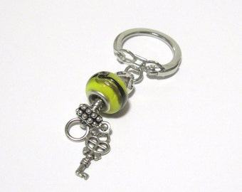 Lampwork Bead Big Hole Keychain Key Ring Yellow Black Key Heart