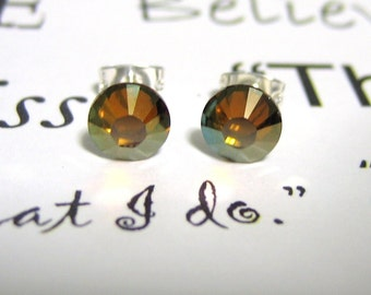 Crystal Copper Crystal Post Style Earrings 7mm Hypo Allergenic Nickel Free