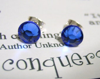 Sapphire Crystal Post Style Earrings 7mm Hypo Allergenic Nickel Free