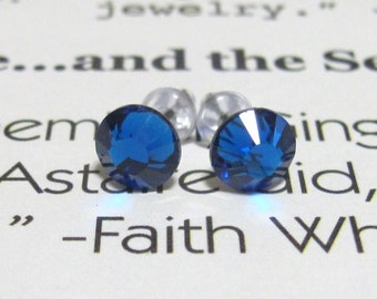 Capri Blue Post Style Earrings 7mm Hypo Allergenic Nickel Free