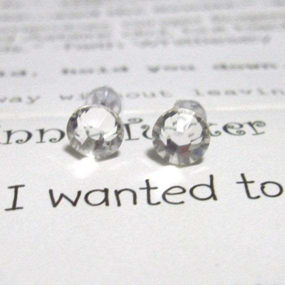 Crystal Clear Crystal Post Style Earrings 7mm Hypo-Allergenic Nickel Free