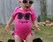 Personalized Leopard Sunglasses onesie with ruffles on back