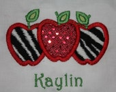 Back to school 3 zebra and sequin apples shirt with name embroidered