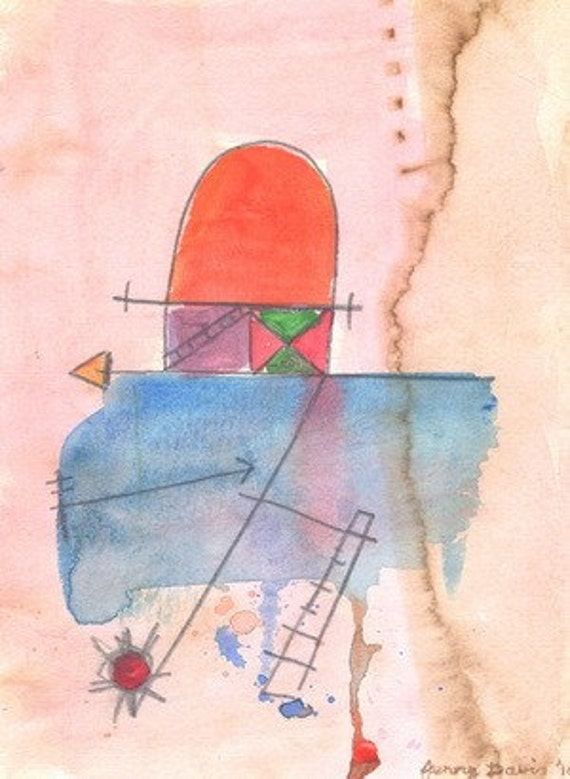 Sea Voyage, Contemporary Modern Art. Drawing, Original Abstract Drawing on Paper