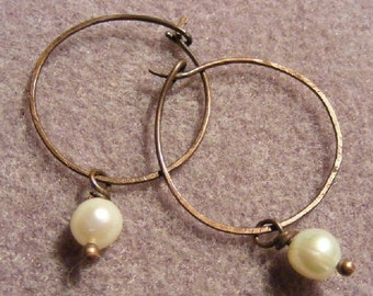 Pearl and Copper Hoops - Earrings