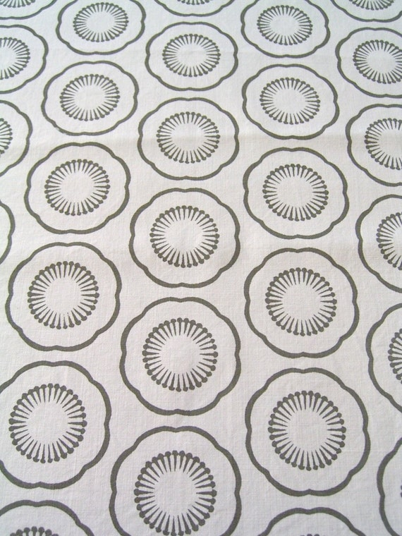 On sale - Screen printed fabric - white cotton