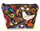 Corduroy Birds of Norway Padded Zippered Flat-bottom Cosmetic Bag/Zippered Pouch