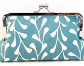 Turquoise and White Framed Clutch