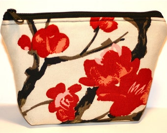 Asian Blossoms Floral Zippered Flat-bottom Cosmetic Bag/Zippered Pouch