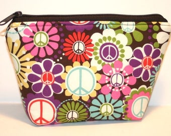Floral Peace Signs Zippered Flat-bottom Cosmetic Bag/Zippered Pouch