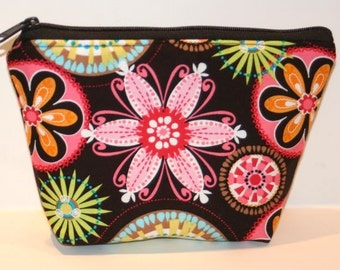 Carnival Blooms Padded Zippered Flat-bottom Cosmetic Bag/Zippered Pouch