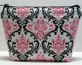 Zippered Pouch - Makeup Bag - Pink and Black - Damask - Padded - Cosmetic Bag - Bridesmaid Gift - Gift for Her - Teacher Gift