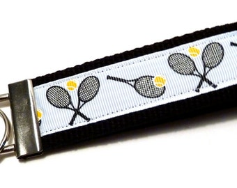 Wristlet Key Fob - Tennis - White and Black - Webbing - Tennis Team Gifts