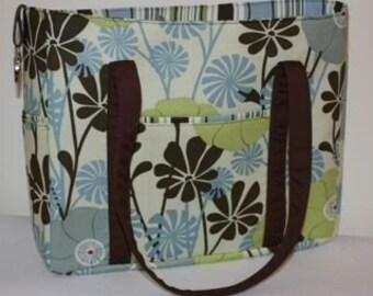 Diaper Bag/Tote - Blue City Girl Floral