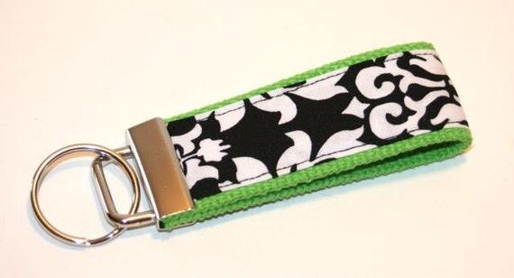 Mini Key Fob - Black and White Damask on Lime Green
