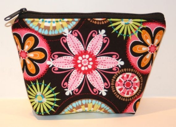 Zippered Pouch -  Flat bottom - Cosmetic Bag - Makeup Bag - Ditty Bag - Multi Color - Floral