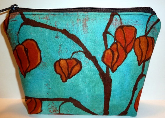 Lantern Pods Cosmetic/Makeup Bag/Zippered Pouch Flat-Bottom Turquoise